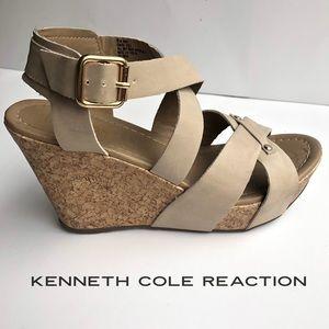 Kenneth Cole Reaction Tan wedge cross sole shoe 6